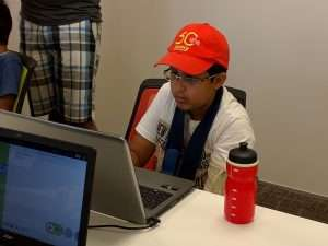 Students having fun coding